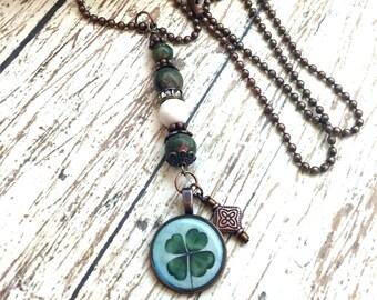 Four Leaf Clover Pendant Lucky Penny Pendant  Lucky Charm   Coin Pendant  item 874