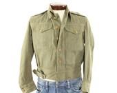 Vintage 40s British Military Jacket Army Overalls Olive Green Denim Mens Coat 1940s Medium M