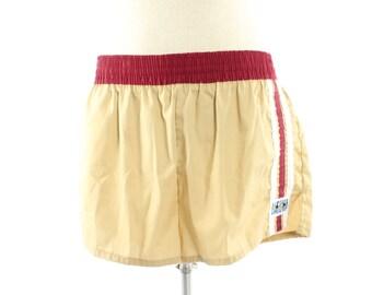 Vintage 80s Swim Trunks Beach Shorts Tan Maroon Striped 1980s XL Large L