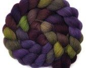 Hand dyed wool roving - Gray Masham wool spinning fiber - 4.1 ounces - Night Shores 2