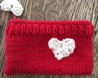 With Love - Little Zippered Knit Wool Coin Purse