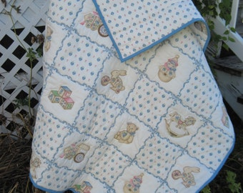 Quilt Handmade Baby  Cotton,Vintage Print Fabric, Infant Crib Bedding, Toddler Quilt, Blue, Pink
