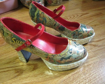 High Fashion High Heel Shoe Upcycle Mosaic Comic Book Ladies High Heels