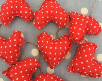 Red polka dot cotton fabric heart garland,bunting,banner,hearts,wedding,valentine,Christmas