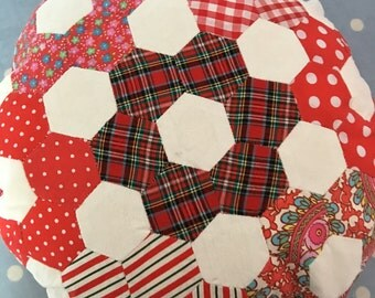 Red and white fabric round hexagon fabric  cushion , decorative cushion in vintage cotton fabrics