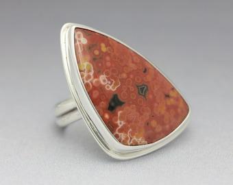 Ocean Jasper Ring, Ocean Jasper and Sterling Ring, Red Pink White, Designer Gemstone, Unisex Ring, Size 7.5