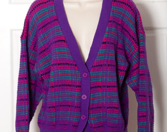80s 90s Vintage Colorful Knit Sweater Cardigan - KNITWAVES