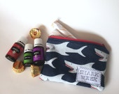 Shark Week Zipper Pouch - Tampon Holder - Period Supplies - Shark Week Survival Kit