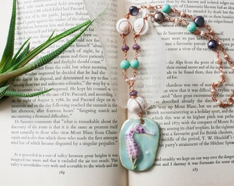 Ceramic Seahorse Necklace Wire Wrapped Seashell Copper Necklace Beach Seashells Pearls Purple Aqua Peacock Pearls