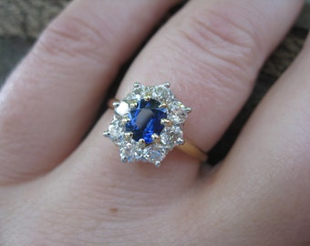 Antique Cushion Blue Sapphire European Diamond Daisy Cluster 14K Ring 1.70 TCW