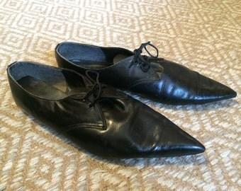 Vintage 80's does 60's Nana Shoes UK Black Winklepickers Garage Punk US 8.5 UK 7