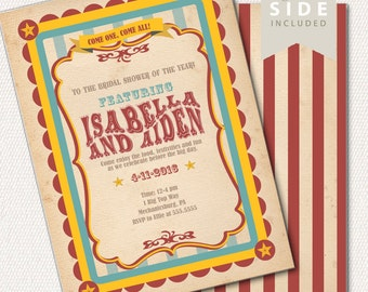 Circus Bridal Shower Invitation, Carnival Invitation, Big Top - Printable Invite - Vintage Red