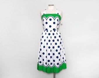Polka Dot Dress. Vintage Sundress. White Sun Dress. 70s Jenni Dress. A Line Dress. Summer Dress. Halter Dress. Knee Length. Medium Large