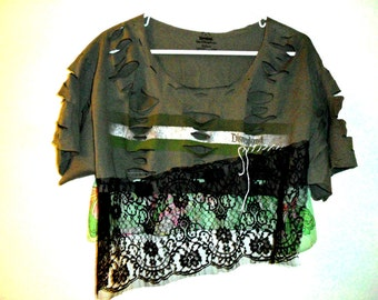 Womens clothing Funky Minimalist  Crop Top  Recycled shirt