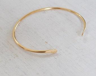Simple Cuff Bracelet, Minimalist Open Cuff Bracelet, Thin Gold Cuff, Bangle Bracelet, Gold Filled, Rose Gold, or Sterling Silver