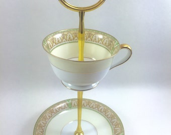 Teacup Stand Tidbit Tray Golden Leaves Jewelry Holder