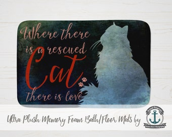 """Plush Bath Mat 34x21"""" - Where There is a Rescued Cat There is Love 