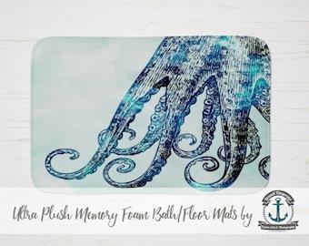 Plush Bath Mat - Octopus Tentacles | Nautical Sea Life Beach House Decor | Thick Memory Foam + Mold Resistant | Choose Size at Checkout.