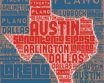 Texas Typography | Austin Dallas Houston Inspired Wall Decor | Product Options and Pricing via Dropdown Menu