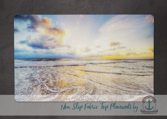 Placemat - Ocean Sunrise | Blue Sky Beach House Shore Decor | Anti Skid/Non Slip Fabric Top Rubber Backed Awesomeness