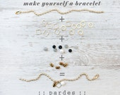Make yourself a bracelet layered chain bracelet with beads, mix and match, bracelet by pardes