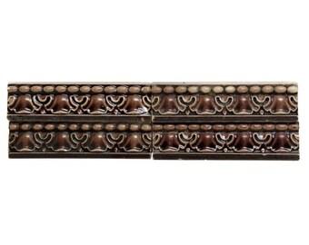 Burgundy geometric ceramic accent tile set