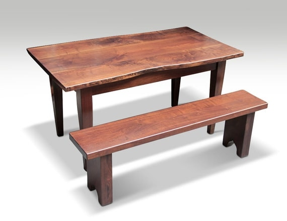 Live Edge Solid Walnut Farm Table & Bench