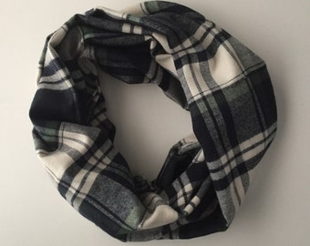 Double Wrap Wide Navy, Green and White Plaid Flannel Infinity Scarf