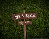 Wedding Signs - CUSTOM - your NAMES and wedding DATE with Stake - spring summer winter fall autumn chic outdoor wooden signage