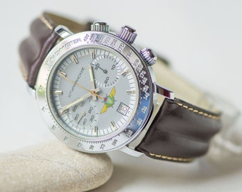 Chronograph STURMANSKIE/POLJOT cal. P3133, Russian air forces pilot watch chronograph, mechanical watch chunky, handmade leather strap new