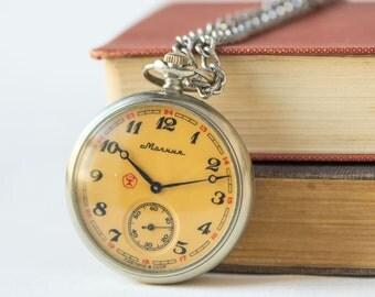 Men's pocket watch Molnija, silver beige shades pocket watch, gent pocket watch chunky quality mark, watch with chain, men's accessory retro
