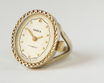 Gold plated women's watch ring Seagull, oval watch ring ornamented, wind up watch ring for lady, gift ring watch Soviet, beige face watch