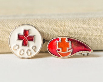 Blood donor Soviet pin, Red Cross badges, red white tiny pins set 2 red cross blood pins collectable USSR