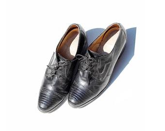 Vintage Black Genuine Lizard Skin Leather Oxfords / Chunky Heel Shoes / size 7