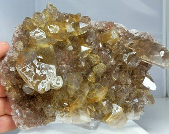 Quartz Crystal Cluster Heavily Rutilated Display Specimen Amazing Quality Display Specimen Minas Gerais, Brazil over 2 Pounds in Weight