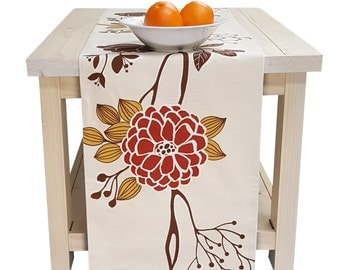 Table Runner Creamy, Red, Brown, Mustard Yellow  Floral Table Runner Fall, Thanksgiving Table Runner 72 inch, 96 inch, 108 inch, 120 inch