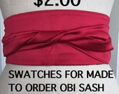 Swatches for made to order Satin Obi, custom order obi sash, you pick color wedding sash, made to order bridesmaid sash swatches