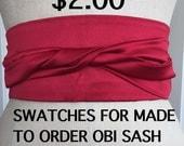 Swatches for made to order Satin Obi, custom order obi sash, you pick color wedding sash, made to order bridesmaid sash swatches