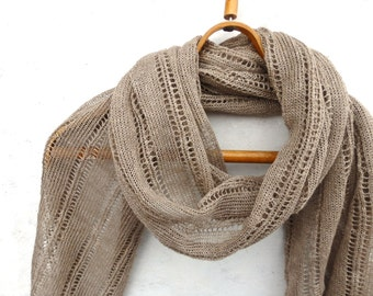 knit linen shawl, knitted lace summer scarf, knitting natural linen wrap, brown wrap, women men scarf, stole, handmade accessories, clothing