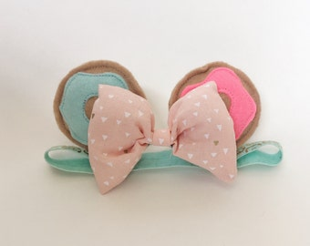 Minnie Mouse Inspired donut Ears | bow headband | baby and toddler