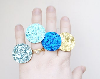 Bling Ring - Glitter Ring - Blue, Aqua, Turquoise, Gold - Choose Colour - Circle Ring - Statement Ring - Statement Jewelry - Glitter Jewelry