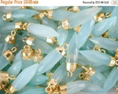 15% Valentines Day Aqua Blue Chalcedony Petite Spike Pendant Charm with 24k gold electroplated cap (S28-B2-06)
