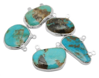 Raw Turquoise Double Bail Petite Freeform Pendant with Electroplated Silver Edge (S87B12-13)