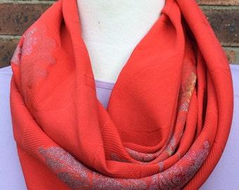 Silk infinity scarf, orange Japanese silk