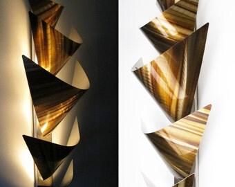 Metal Wall Art - Lighted Wall Art - Metal Wall Sculpture - Modern Wall Art - Geometric Wall Art - Abstract Art - Sconce Accent Light