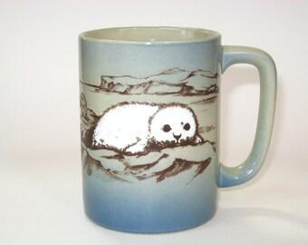 Otagiri Japan Baby Harp Seal Pup Arctic Hand Painted Raised Enamel Stoneware Coffee Mug w/ Label
