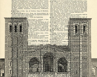 Royce Hall UCLA University of California, Los Angeles on Upcycled Vintage Dictionary Paper - 7.75x11 under 10