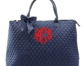 Monogram Quilted Tote Bag -Large Personalized Quilted Tote- Quilted Solid Overnight Tote - Diaper Bag - Personlaized Gift Tote Bag