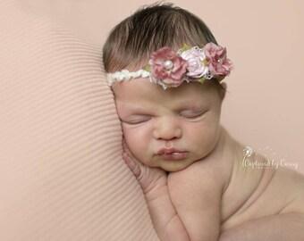 Baby Headband, Rose Headband, Flower Tieback, Newborn Headband, Newborn Props, Pink Headband, Photo Prop, Headband, Baby Girl Headband
