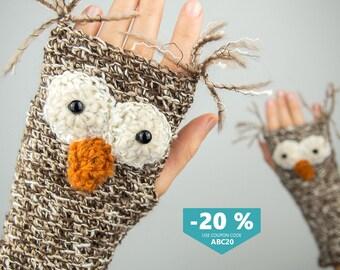 Owl Fingerless Gloves ~ FREE Shipping Worldwide